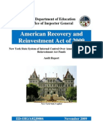 ED-OIG New York State System of Internal Control Over ARRA Funds Audit