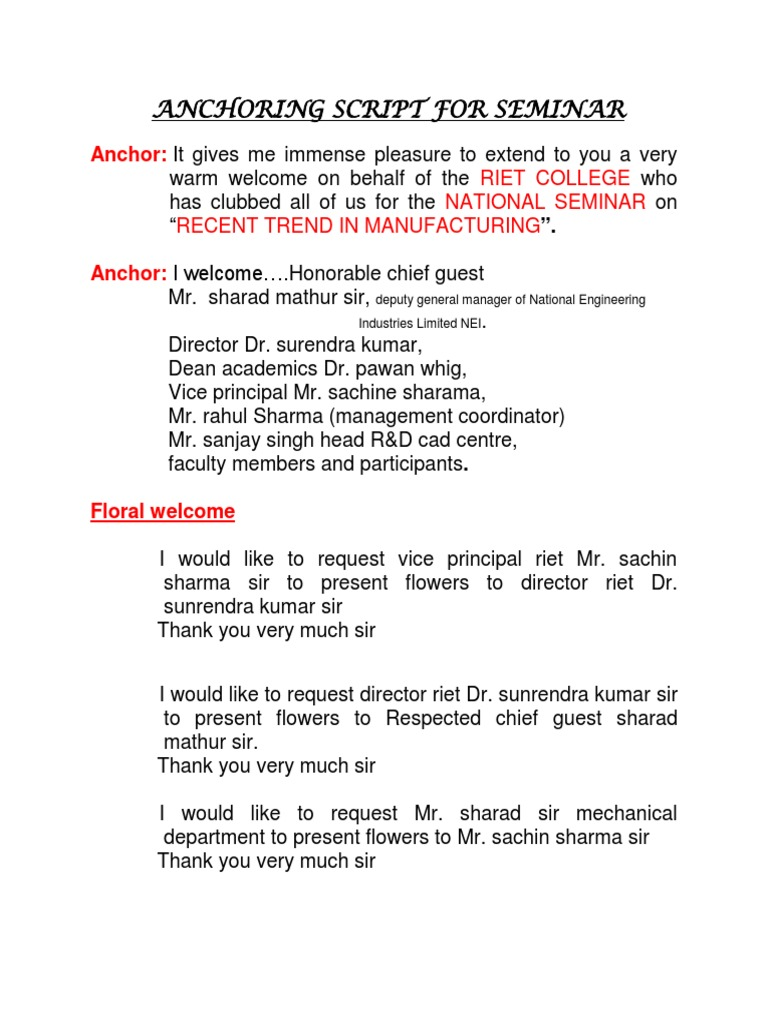 Anchoring Script for Seminar | Science And Technology | Business