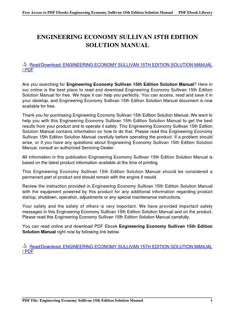 engineering economy sullivan 15th edition solution manual rh es scribd com engineering economy 15th edition sullivan solution manual pdf Engineering Economybvmodels