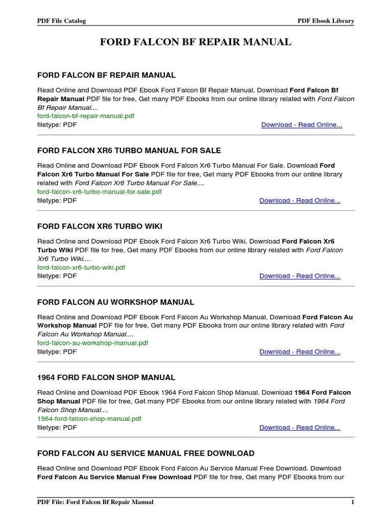 ford falcon bf repair manual rh es scribd com ford falcon service manual pdf 1962 ford falcon shop manual pdf