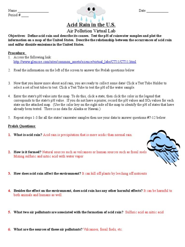 Uncategorized Ph And Acid Rain Worksheet acid rain virtual lab worksheet air pollution