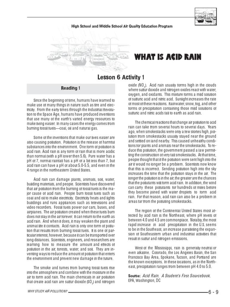 Acid Rain Worksheet Atmosphere Of Earth Rain