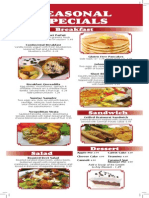 Chris Pancake Seasonal Menu 2014
