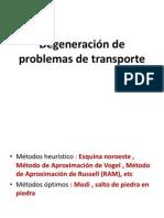 Degeneración de Problemas de Transporte