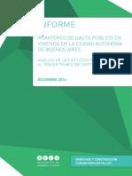 """Informe """"Ejecución Tercer Trimestre 2014 Vivienda"""""""