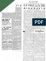 Artículos de La Región sobre el Campo de Fútbol de Ribadavia en 1950
