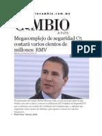 03-12-2014 Diario Matutino Cambio de Puebla - Megacomplejo de Seguridad C5 Costará Varios Cientos de Millones,RMV