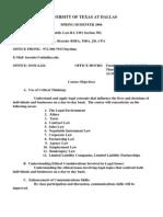 UT Dallas Syllabus for ba2301.502 06s taught by Kenneth Bressler (bressler)