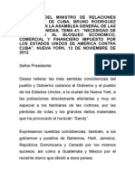 Discurso Del Ministro de Relaciones Exteriores de Cuba