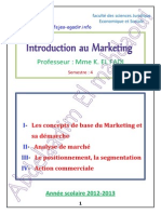 Le Cours DIntroduction Au Marketing . Mme K. EL FADI