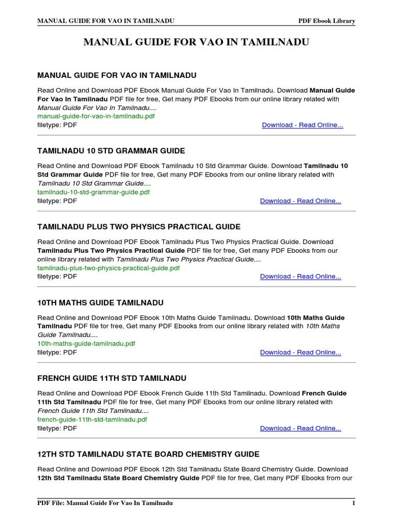 manual guide for vao in tamilnadu rh es scribd com 11th state board maths guide pdf free download 9th state board maths guide pdf