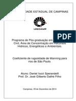 Coeficiente de Rugosidade de Manning Para Rios de São Paulo