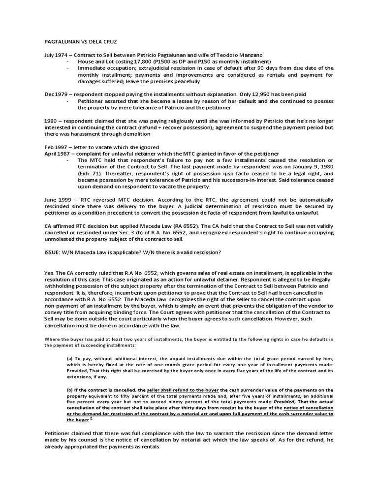 Pagtalunan vs dela cruz breach of contract rescission spiritdancerdesigns Images