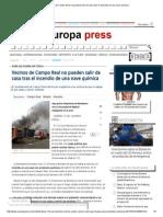Vecinos de Campo Real No Pueden Salir de Casa Tras El Incendio de Una Nave Química