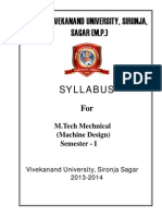 Swami Vivekananda University M.tech MD Syllabus SEM 1