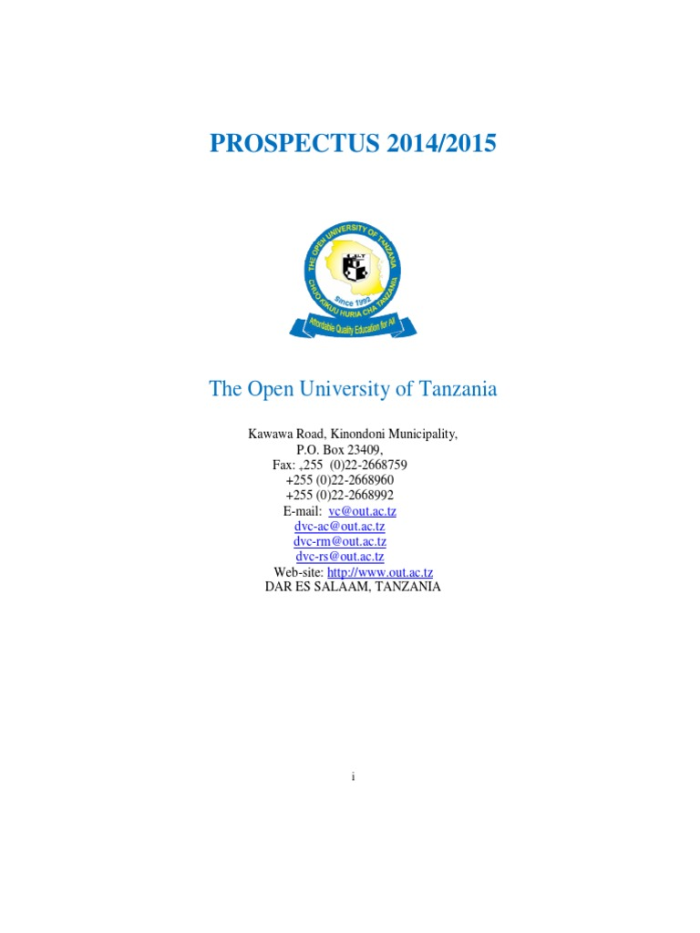 Open University of Tanzania Prospectus 2014 2015 | Academic Degree ...