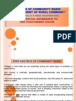 d.role of Community Radio.
