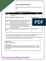 data handling worksheet