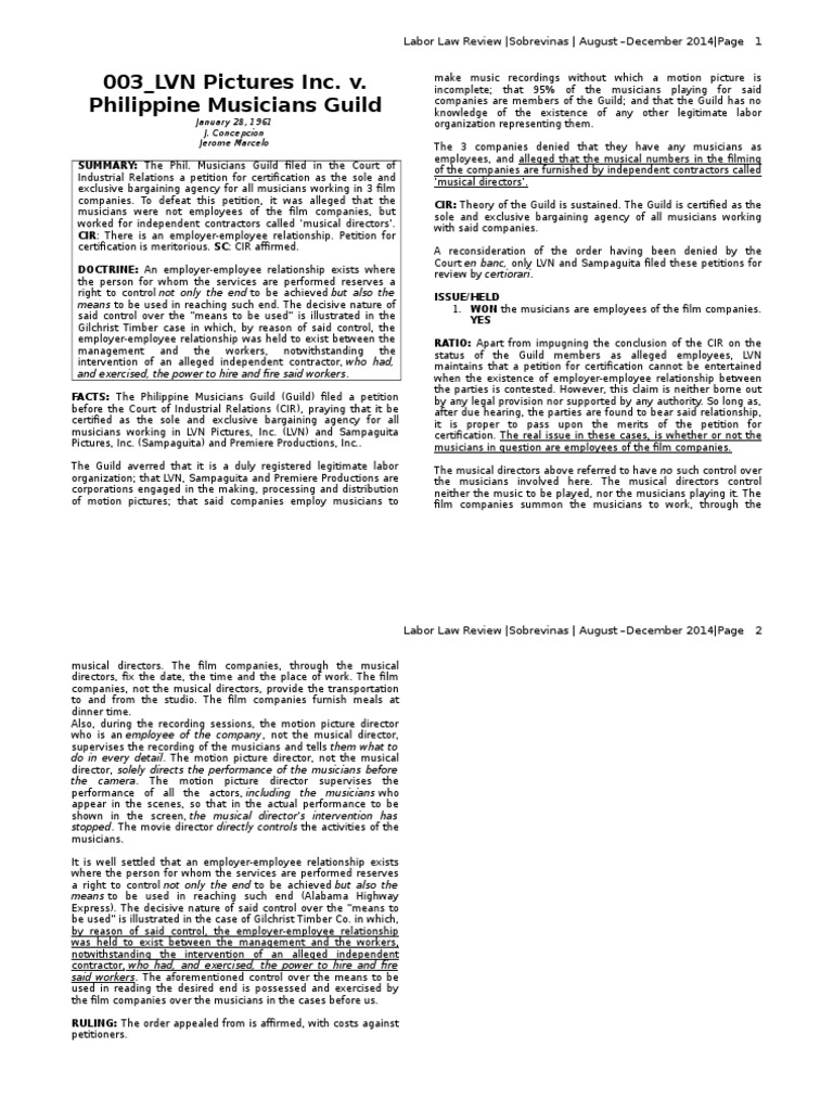 003lvn pictures inc v philippine musicians guild independent 003lvn pictures inc v philippine musicians guild independent contractor united states labor law 1betcityfo Image collections