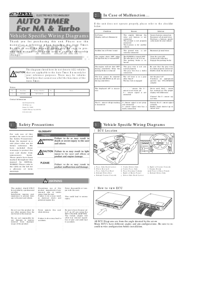 apextimer wiring automobiles rotating machines rh scribd com BMW E46 Stereo Wiring Diagram ECU Pinout