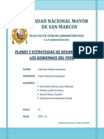 Planes y Estrategias de Desarrollo de Los Gobiernos Del Peru