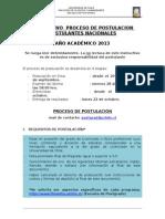 Instructivo Postulantes Nacionales 2013