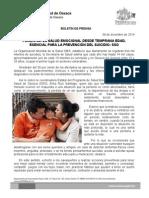 09 DE DICIEMBRE DE 2014.- FOMENTAR LA SALUD EMOCIONAL DESDE TEMPRANA EDAD, ESENCIAL PARA PREVENCIÓN DEL SUICIDIO.doc