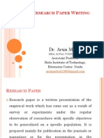 Research Paper Writing Dr. Arun Mittal