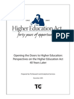 Opening the Doors to Higher Education Perspectives on the Higher Education Act 40 Years Later