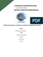 Estudio de proveedores, condiciones y tratativas de las Importaciones al Perú