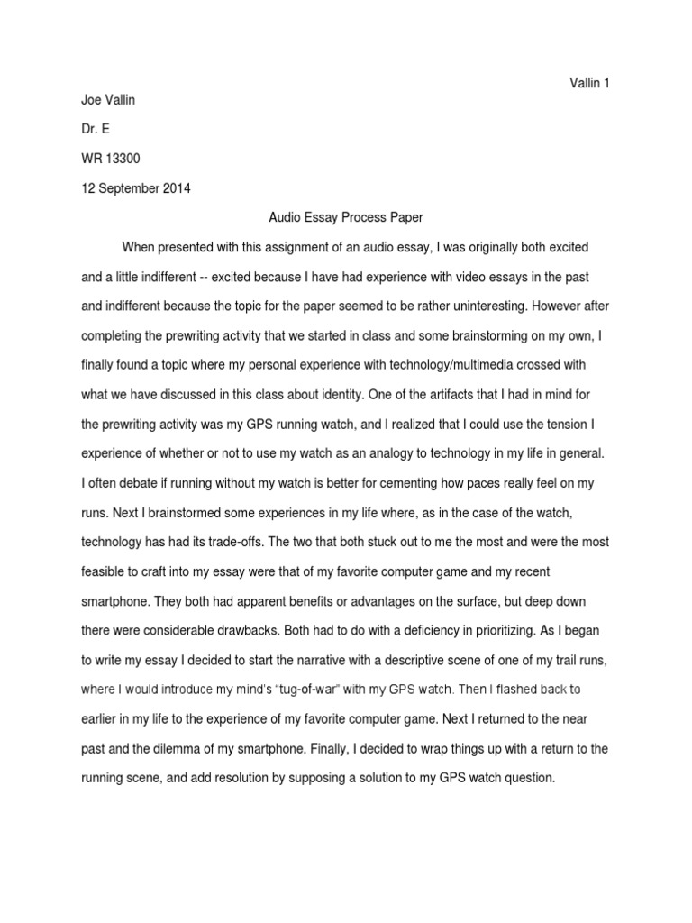 audio essay process paper  essays  human communication