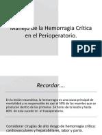 Manejo de La Hemorragia Critica en El Perioperatorio