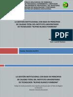 La Gestión Institucional Del Instituto Universitario de Tecnología.