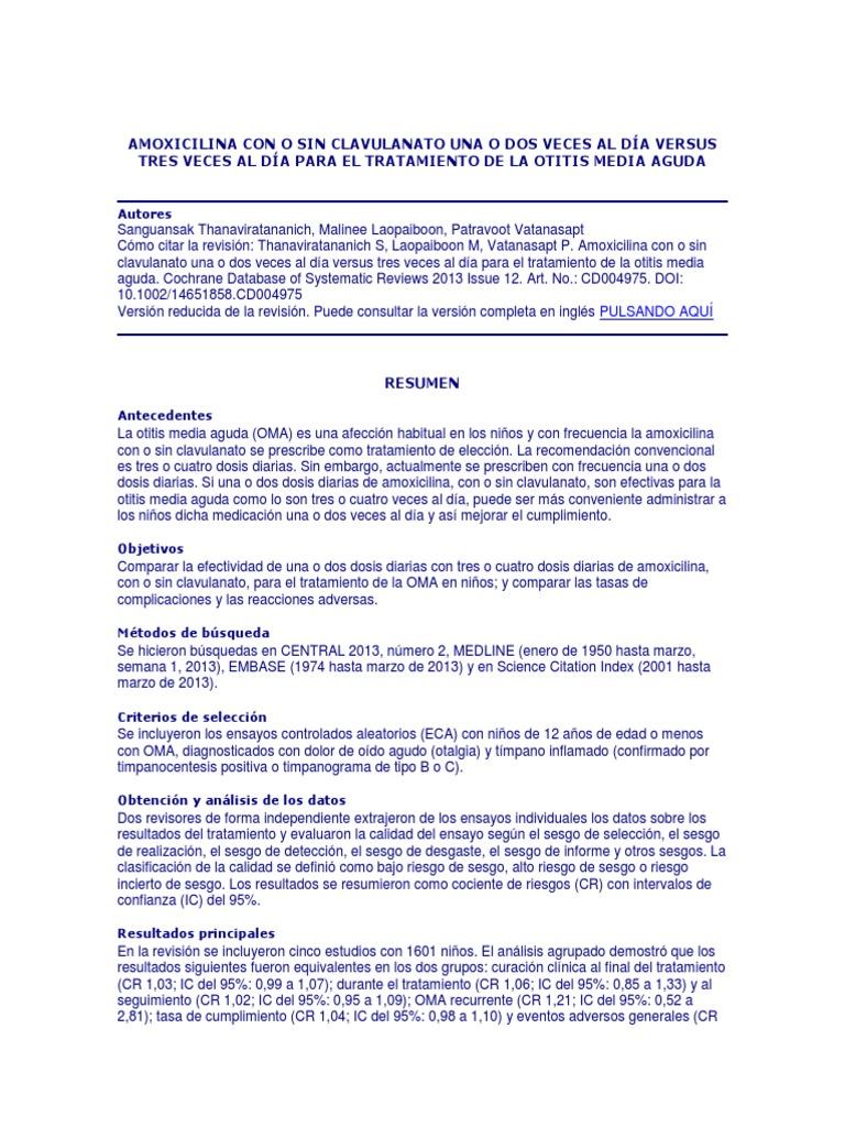 dosis de amoxicilina para otitis media en niños