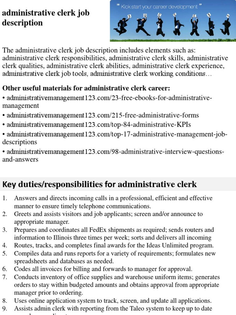 Marvelous Administrative Clerk Job Description | Employment | Recruitment  Administrative Clerk Job Description