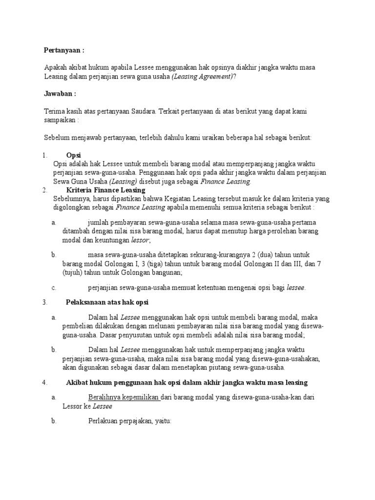 pertanyaan tentang leasing