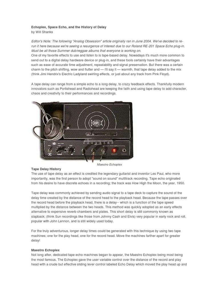 History of Tape Dealey | Sound Technology | Signal Processing