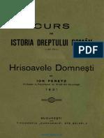 Ioan Peretz - Curs de Istoria Dreptului Românesc