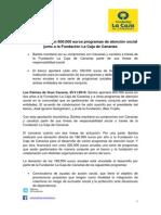 Bankia apoya con 800.000 euros programas de atención social junto a la Fundación La Caja de Canarias