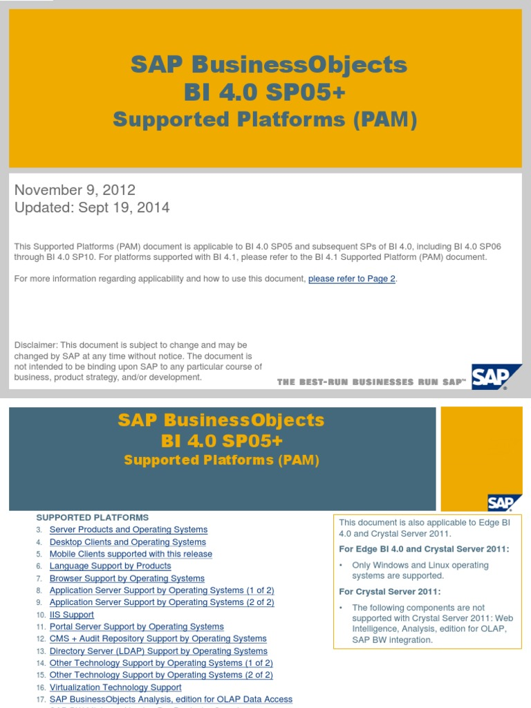 SAP BusinessObjects BI 4 0 SP05+ Supported Platforms (PAM) 0 SP05 ...