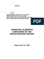 Essential Elements Contained in the Investigation Report- The Mutsinzi Report- Rwanda -