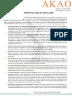 Déclaration Politique AKAO sur la crise politique