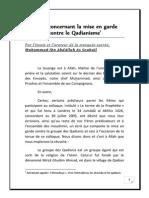Mise en Garde Contre Les Qadianites as Soubaïl