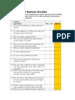Adult Dyslexia Checklist