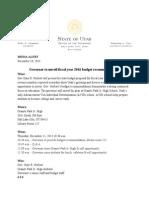 12.10.2014 Governor Gary Herbert Budget rollout ADVISORY