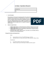 Course Outline Operations Research