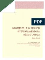 11-12-14 Informe - XX Reunión Interparlamentaria México Canadá