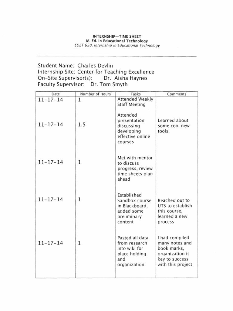 internship time sheet educational technology mentorship