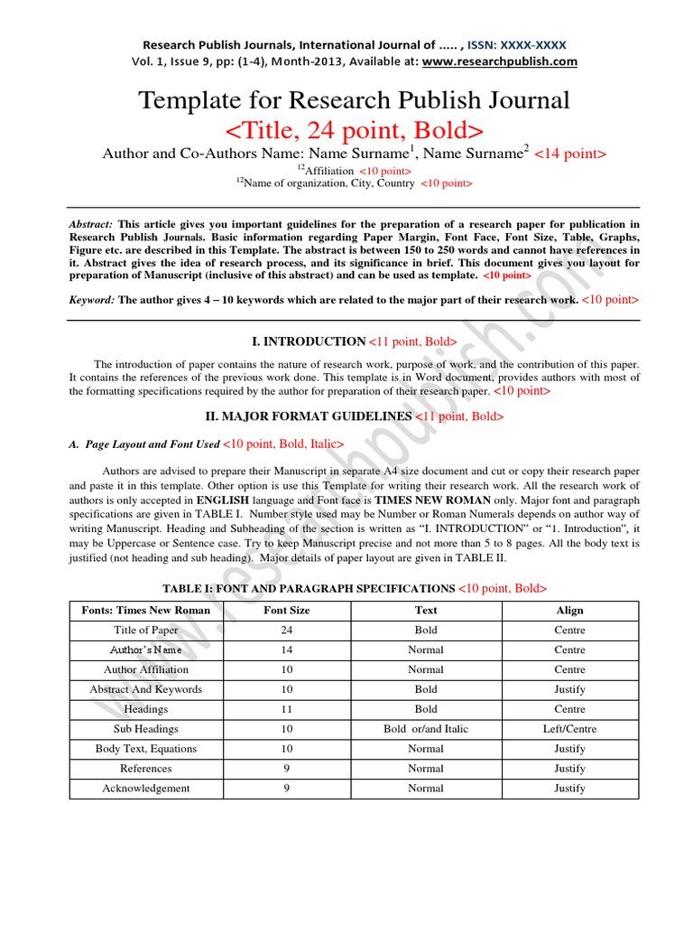 Manuscript Template Page Layout Academic Publishing