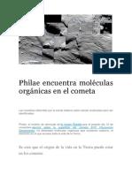 Philae Encuentra Moléculas Orgánicas en El Cometa